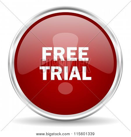 free trial red glossy circle web icon