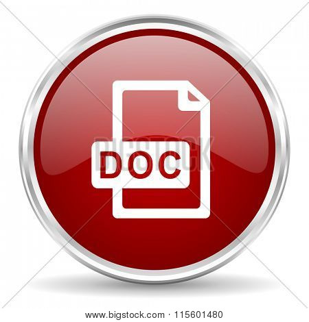 doc file red glossy circle web icon