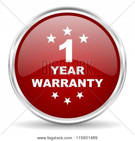 warranty guarantee 1 year red glossy circle web icon