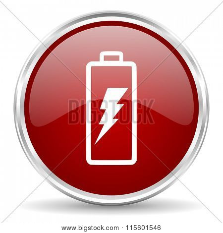 battery red glossy circle web icon