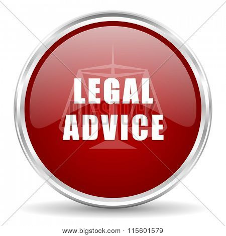 legal advice red glossy circle web icon