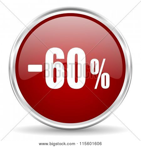 60 percent sale retail red glossy circle web icon