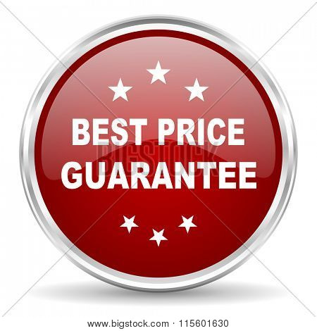 best price guarantee red glossy circle web icon