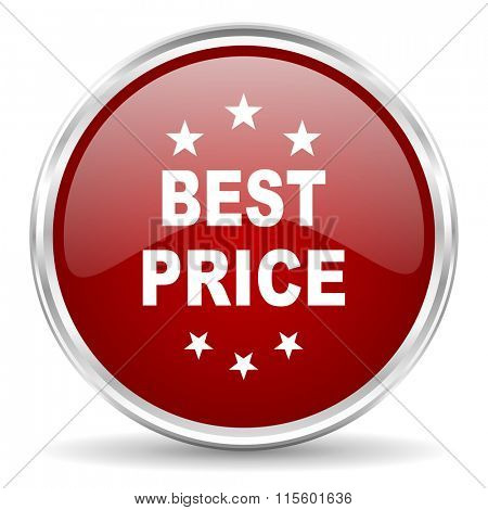 best price red glossy circle web icon