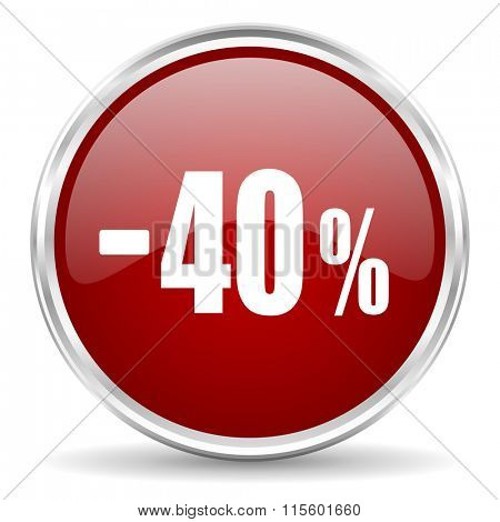 40 percent sale retail red glossy circle web icon