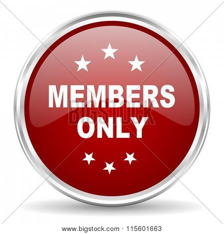 members only red glossy circle web icon