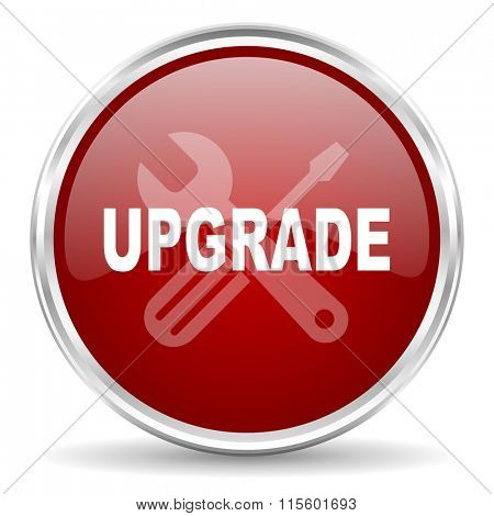 upgrade red glossy circle web icon