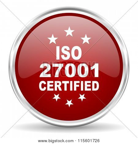 iso 27001 red glossy circle web icon