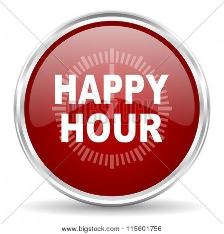 happy hour red glossy circle web icon