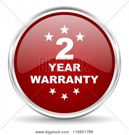 warranty guarantee 2 year red glossy circle web icon
