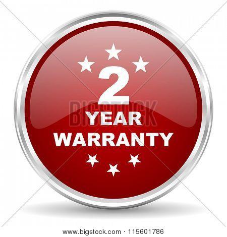 warranty guarantee 2 year red glossy circle web icon