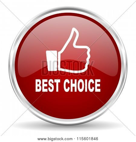 best choice red glossy circle web icon