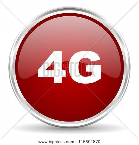 4g red glossy circle web icon