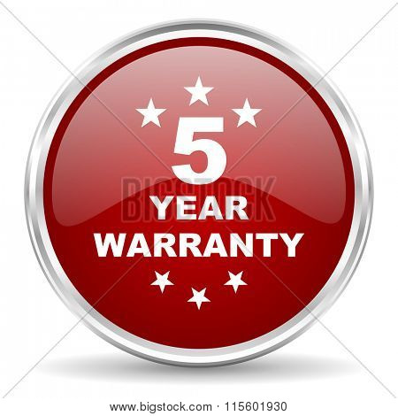 warranty guarantee 5 year red glossy circle web icon