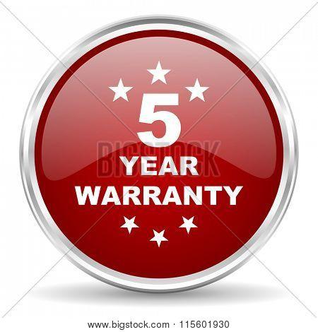 warranty guarantee 5 year red glossy circle web icon