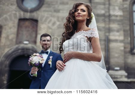 Happy Couple Of Newlyweds Valentynes Posing In Front Of Old Baroque Church Bride Closeup