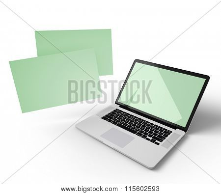 Open laptop with additional displays floating in the air. Isolated on white. Clipping paths for all displays included.