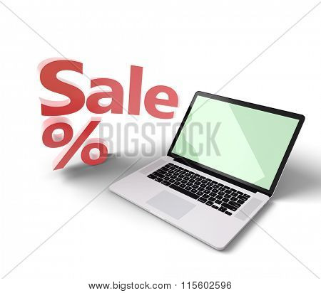 Open laptop with Sale label near it, isolated on white. Clipping path for display included.