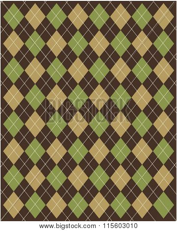 Brown and Green Vector Argyle Pattern