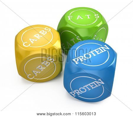 good balanced diet concept - fats carbs and protein 3 dice isolated on white