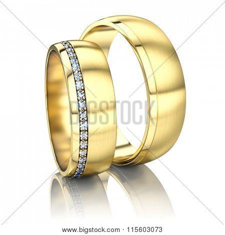 Golden rings isolated on white background - 3d render