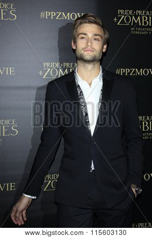 LOS ANGELES - JAN 21:  Douglas Booth at the Pride And Prejudice And Zombies Premiere at the Harmony Gold Theatre on January 21, 2016 in Los Angeles, CA