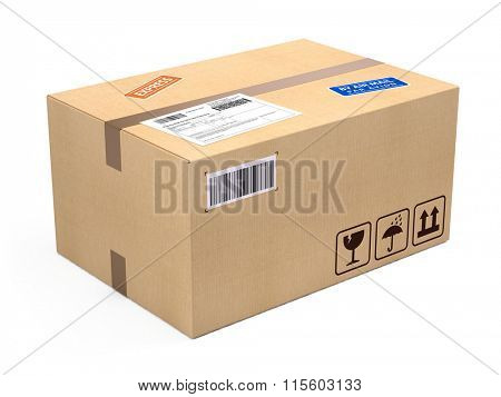 cardboard box package parcel isolated on white - shipping concept