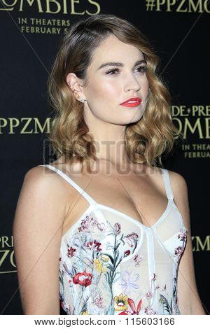 LOS ANGELES - JAN 21:  Lily James at the Pride And Prejudice And Zombies Premiere at the Harmony Gold Theatre on January 21, 2016 in Los Angeles, CA