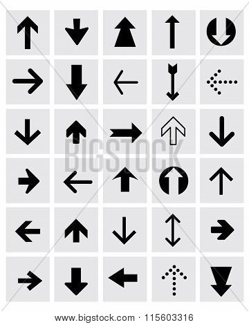 A huge collection of various vector black and white directional arrow elements