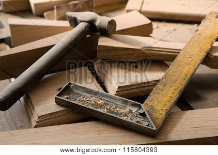 Products and harvesting of wood lying on the workbench in the workshop