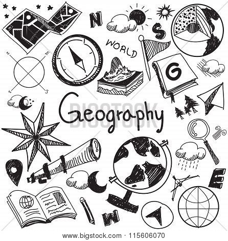 Geography And Geology Education Subject Handwriting Doodle Icon Of Earth Exploration And Map Design