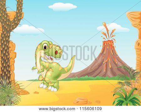 Adorable tyrannosaurus dinosaur on the Prehistoric background