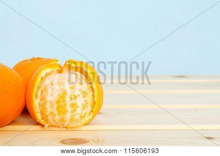 Mandarin On Wooden Table