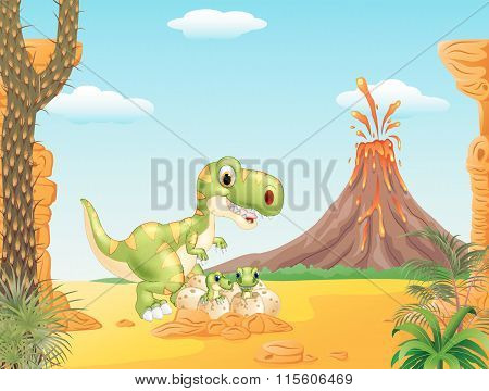 Cartoon Mother and baby dinosaur hatching with the prehistoric background