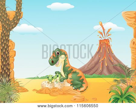 Mother tyrannosaurus and baby dinosaurs hatching in the prehistoric background