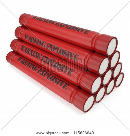 Dynamite bomb isolated on a white background.