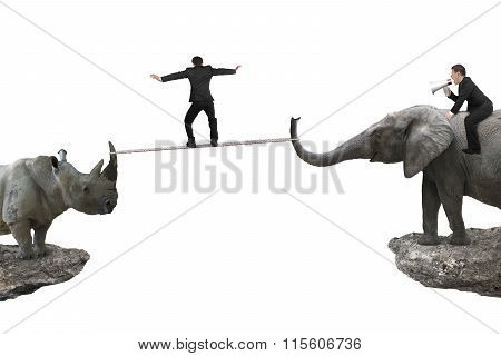 Man Riding Elephant Against Rhinoceros With Another Balancing Rope