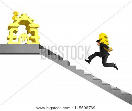 Man Carrying Gold Euro On Stairs To Money Stacking House
