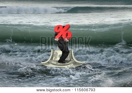 Businessman Carrying 3D Percentage On Money Boat With Oncoming Waves