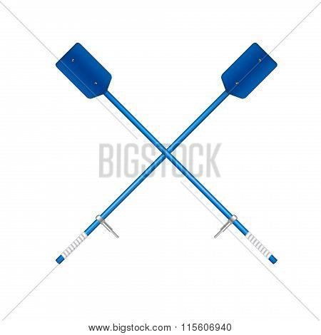Two crossed old oars in blue design