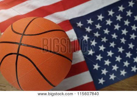Basketball On American Flag At The Top View