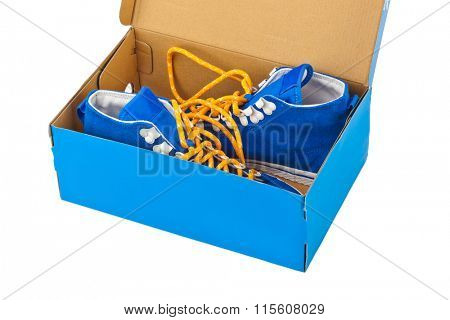 Sneakers in box isolated on white background