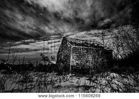Black & White Abandoned Old Cabin