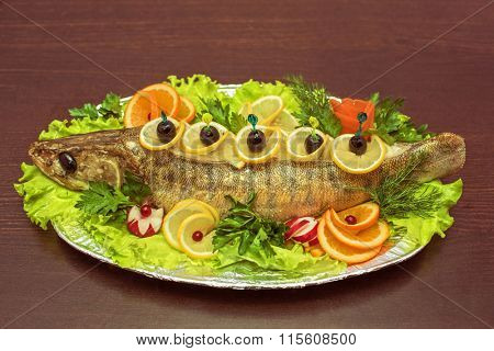 zander fish baked with greens fruits and vegetables