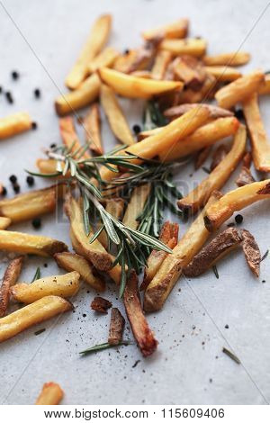 Unhealthy food. Fried french fries