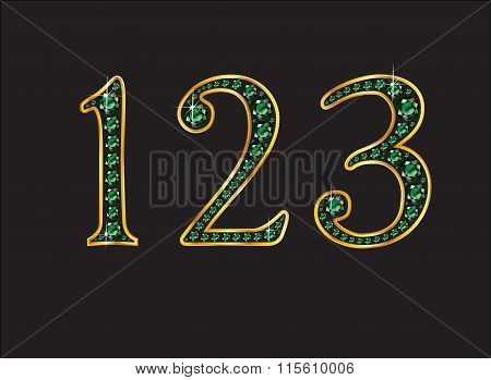 1 2 And 3 In Emerald Jeweled Font With Gold Channels