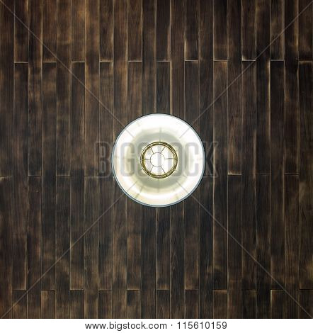 Dark Wooden Plank Ceiling With Hanging Lamp