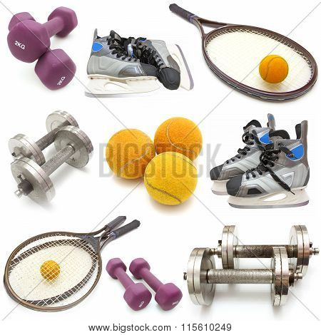 sports equipment collage. Isolated on white background.