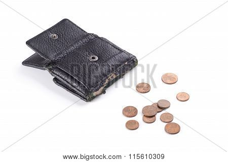 Black purse with old coins.