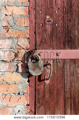 Old Wooden Door With Two Locks